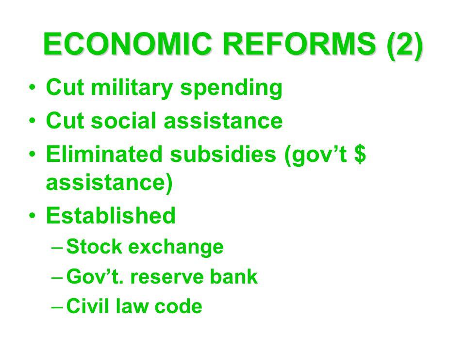 ECONOMIC REFORMS (2) Cut military spending Cut social assistance Eliminated subsidies (gov't $ assistance) Established –Stock exchange –Gov't.