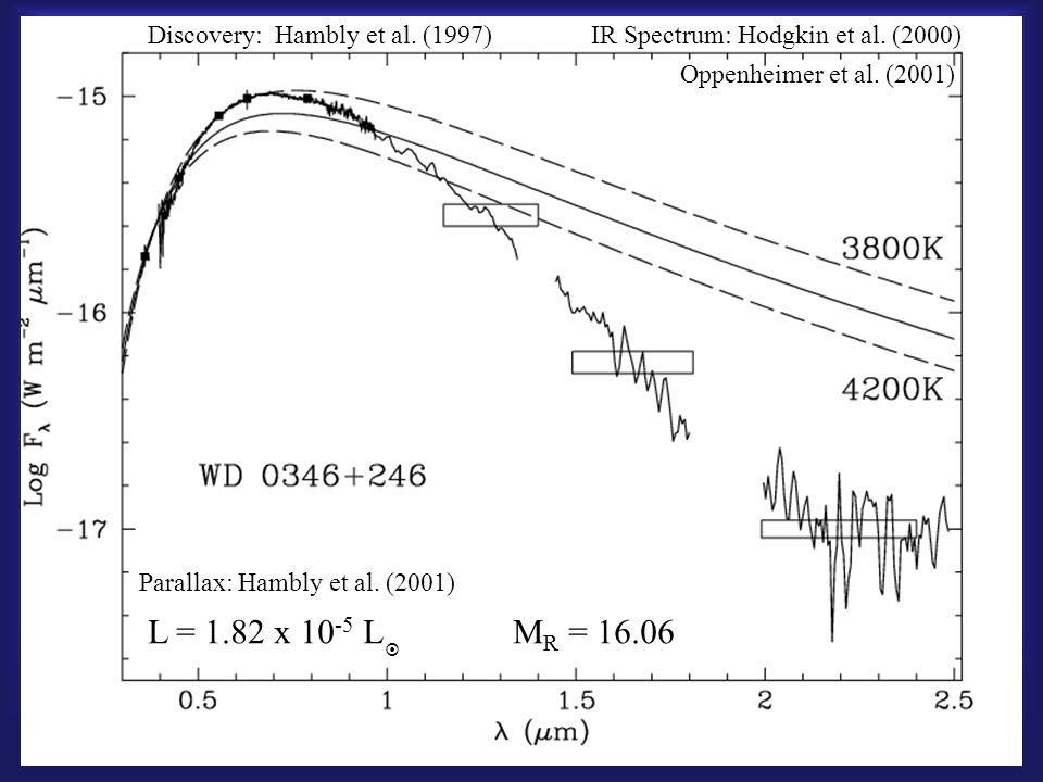 WD 0346+246 Discovery: Hambly et al. (1997)IR Spectrum: Hodgkin et al. (2000) Oppenheimer et al. (2001) Parallax: Hambly et al. (2001) L = 1.82 x 10 -
