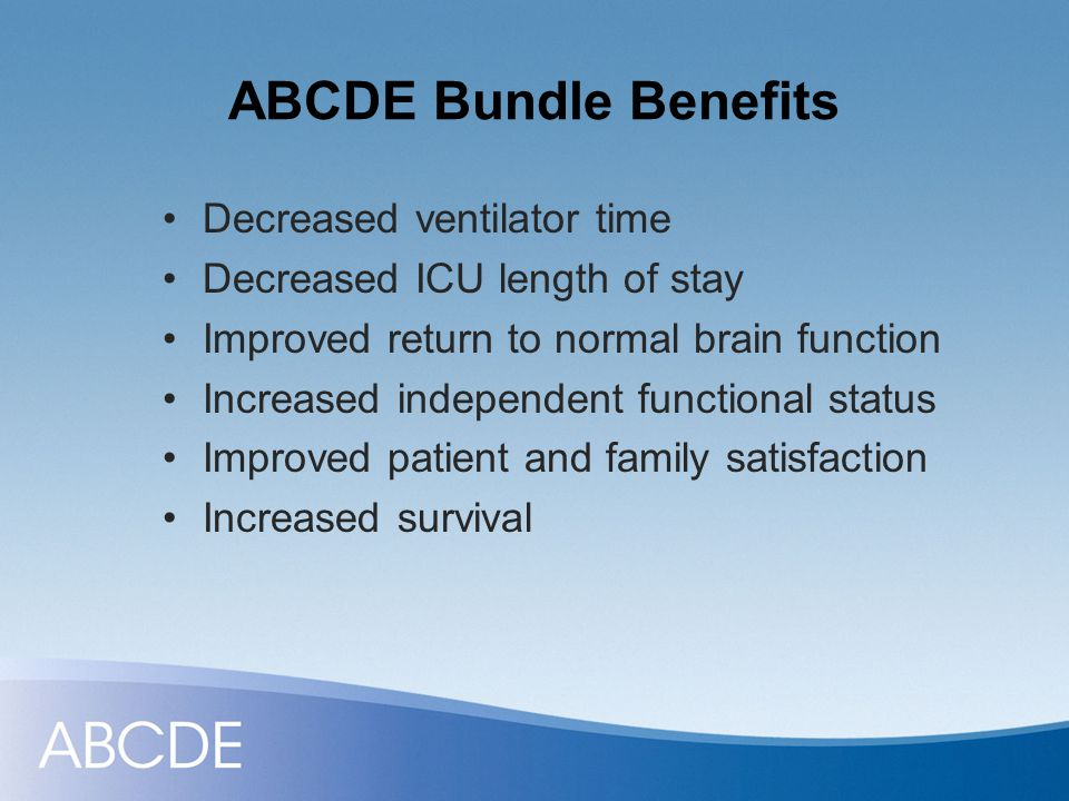 ABCDE Bundle Improved Patient Outcomes Awakening & Breathing Trial Coordination Choice of Sedation Daily Delirium Monitoring Early Exercise & Mobility