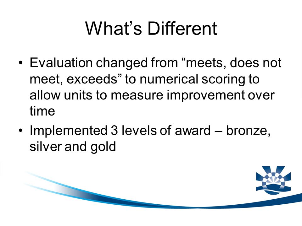 "What's Different Evaluation changed from ""meets, does not meet, exceeds"" to numerical scoring to allow units to measure improvement over time Implemen"