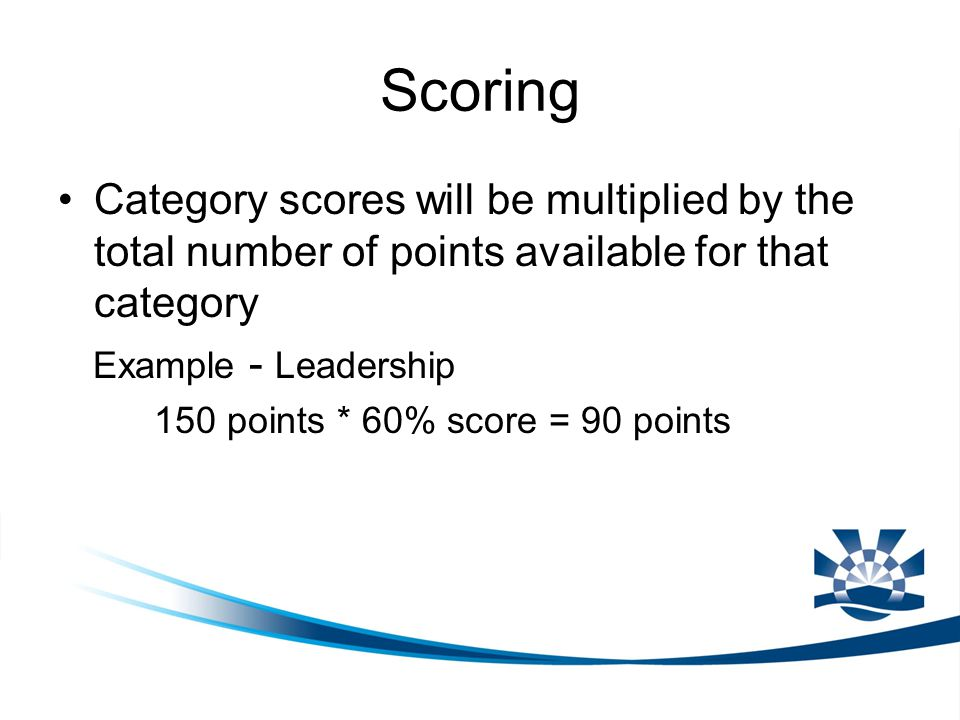 Scoring Category scores will be multiplied by the total number of points available for that category Example - Leadership 150 points * 60% score = 90