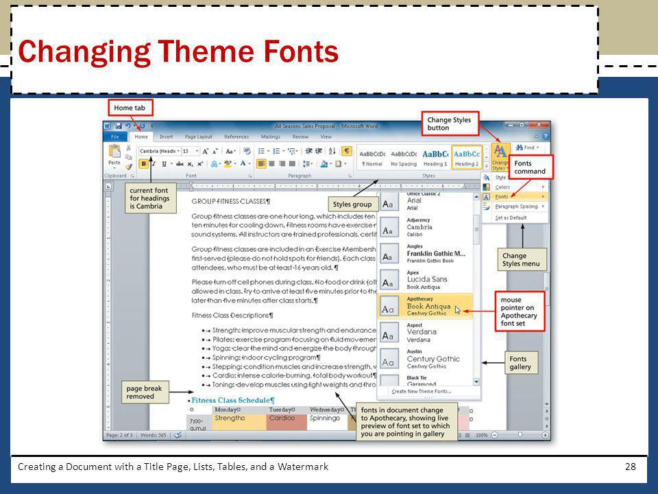 Creating a Document with a Title Page, Lists, Tables, and a Watermark28 Changing Theme Fonts