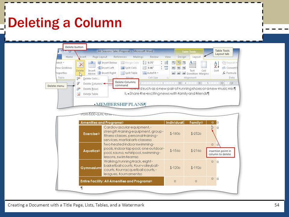 Creating a Document with a Title Page, Lists, Tables, and a Watermark54 Deleting a Column