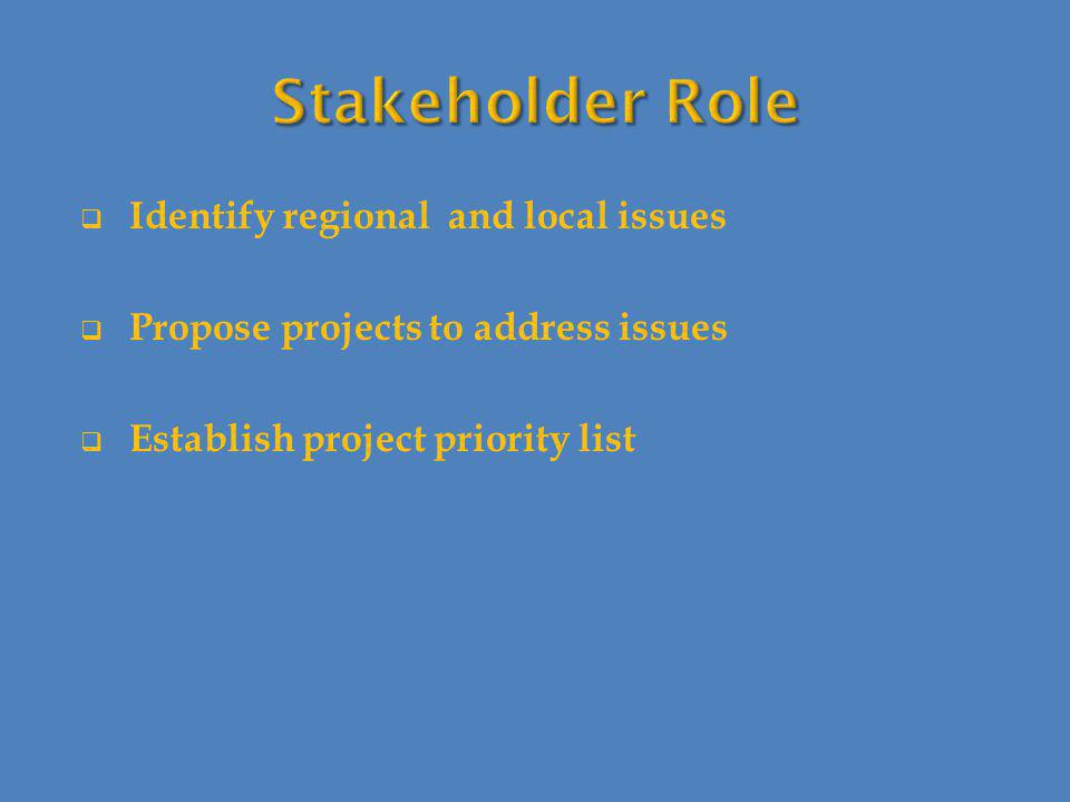  Identify regional and local issues  Propose projects to address issues  Establish project priority list