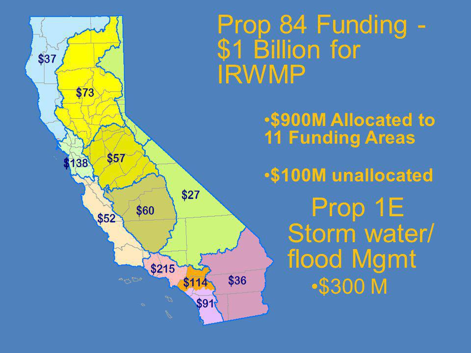 Prop 84 Funding - $1 Billion for IRWMP $900M Allocated to 11 Funding Areas $100M unallocated Prop 1E Storm water/ flood Mgmt $300 M