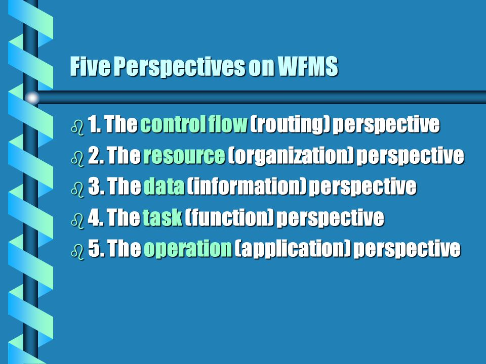 Five Perspectives on WFMS b 1. The control flow (routing) perspective b 2.