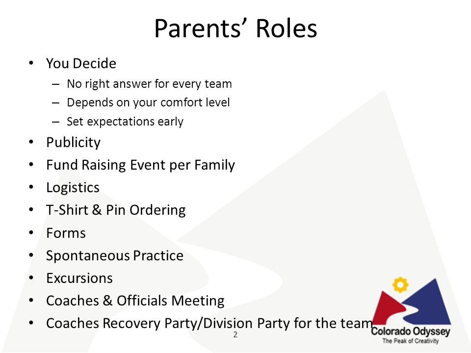 Parents' Roles You Decide – No right answer for every team – Depends on your comfort level – Set expectations early Publicity Fund Raising Event per Family Logistics T-Shirt & Pin Ordering Forms Spontaneous Practice Excursions Coaches & Officials Meeting Coaches Recovery Party/Division Party for the team