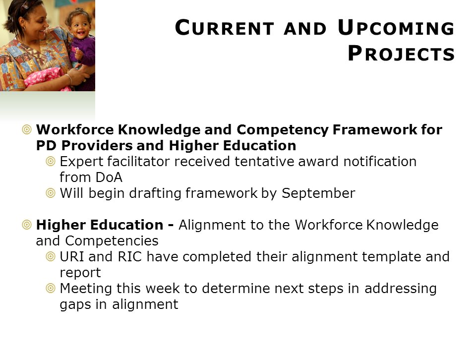 55 C URRENT AND U PCOMING P ROJECTS  CCRI NAEYC Accreditation  Alignment to WKC is taking place as part of Accreditation process  Self- Study Process has begun  Internal Review Teams have been identified  Stakeholders will be invited to participate in process  TA from NAEYC has been made available  Access to Higher Education  Expansion of CCRI Level 1 Pathway Program is underway  2 cohorts in progress  Recruiting for Fall  T.E.A.C.H.