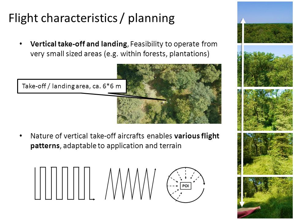 Flight characteristics / planning Vertical take-off and landing, Feasibility to operate from very small sized areas (e.g.