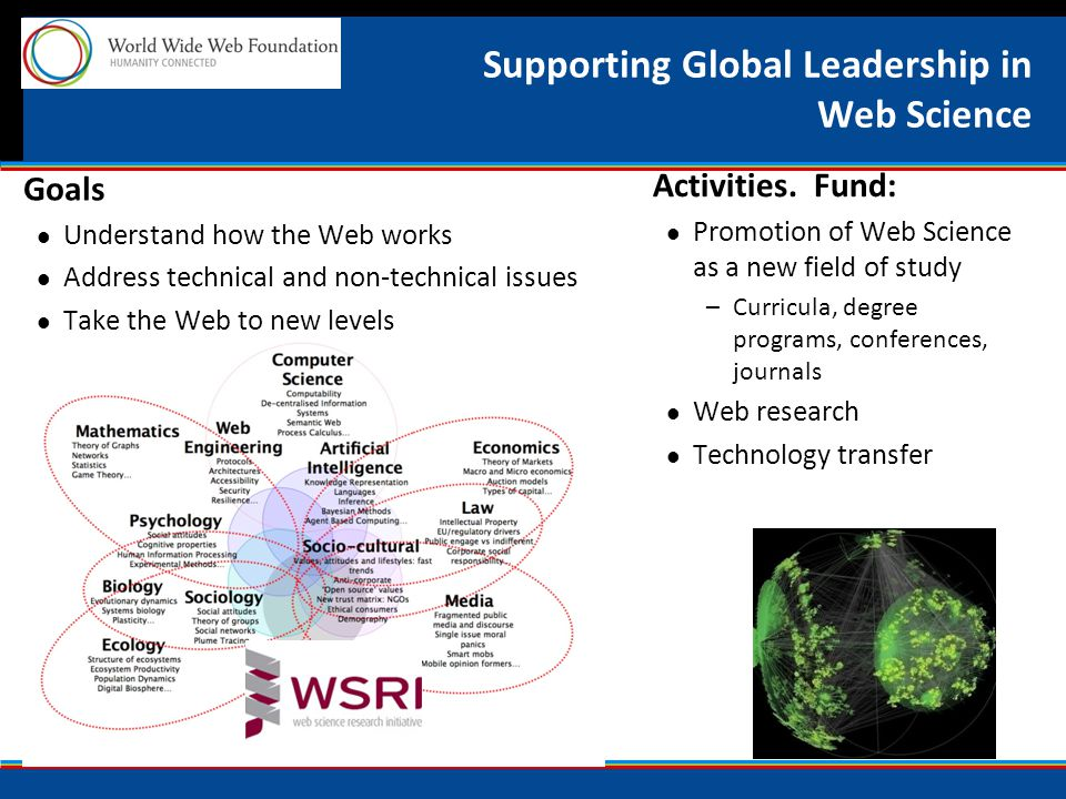 Supporting Global Leadership in Web Science Goals Understand how the Web works Address technical and non-technical issues Take the Web to new levels Activities.