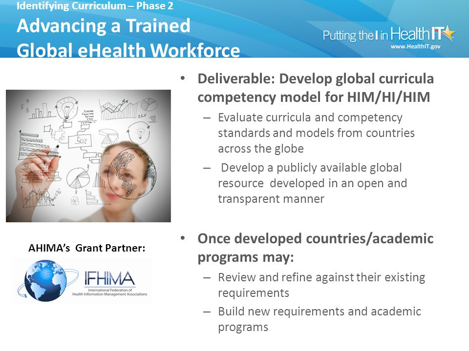 Identifying Curriculum – Phase 2 Advancing a Trained Global eHealth Workforce Deliverable: Develop global curricula competency model for HIM/HI/HIM – Evaluate curricula and competency standards and models from countries across the globe – Develop a publicly available global resource developed in an open and transparent manner Once developed countries/academic programs may: – Review and refine against their existing requirements – Build new requirements and academic programs AHIMA's Grant Partner: