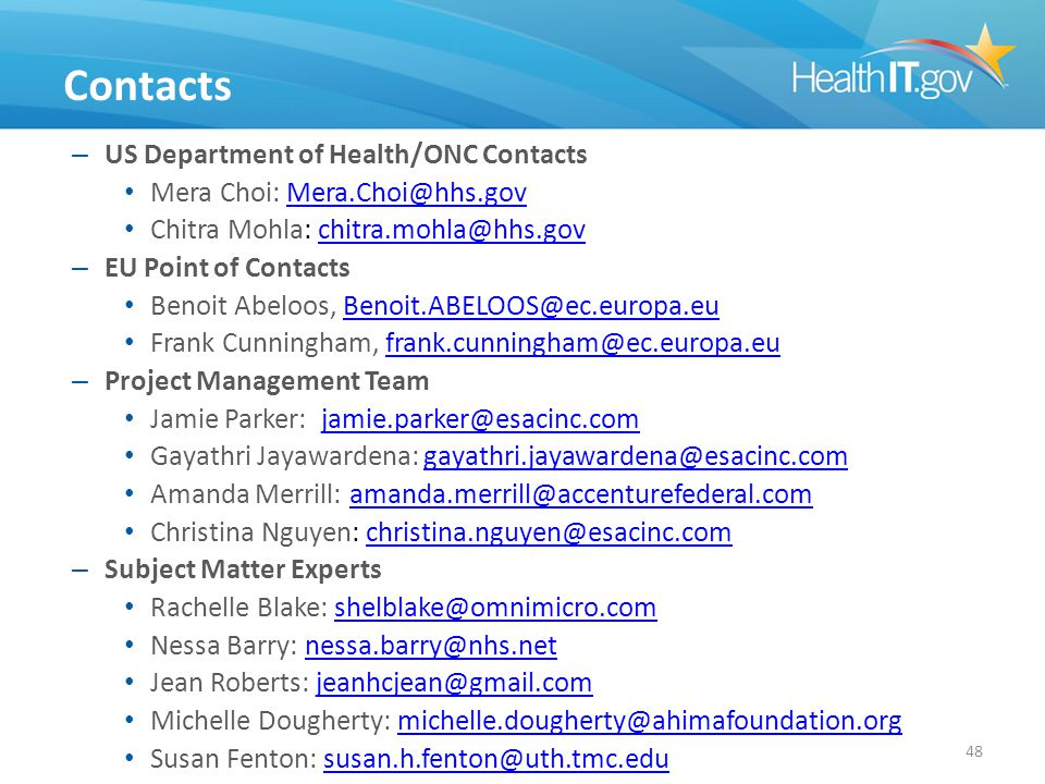 Contacts – US Department of Health/ONC Contacts Mera Choi: Mera.Choi@hhs.govMera.Choi@hhs.gov Chitra Mohla: chitra.mohla@hhs.govchitra.mohla@hhs.gov –