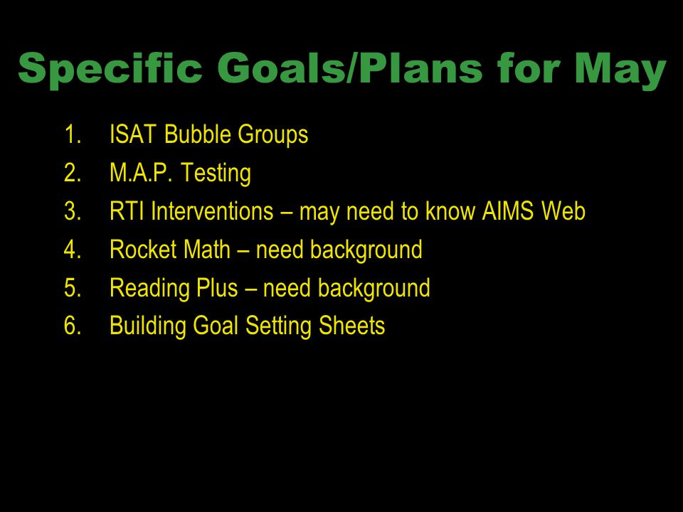 Specific Goals/Plans for May 1.ISAT Bubble Groups 2.M.A.P. Testing 3.RTI Interventions – may need to know AIMS Web 4.Rocket Math – need background 5.R