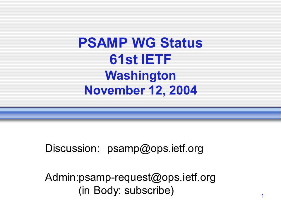 IETF 59 PSAMP WG STATUS2 PSAMP WG I-Ds A Framework for Passive Packet Measurement  draft-ietf-psamp-framework-09.txt Sampling and Filtering Techniques for IP Packet Selection  draft-ietf-psamp-sample-tech-05.txt Packet Sampling (PSAMP) Protocol Specifications  draft-ietf-psamp-protocol-01.txt (expired) Information Model for Packet Sampling Exports  draft-ietf-psamp-info-02.txt Definitions of Managed Objects for Packet Sampling  draft-ietf-psamp-mib-03.txt