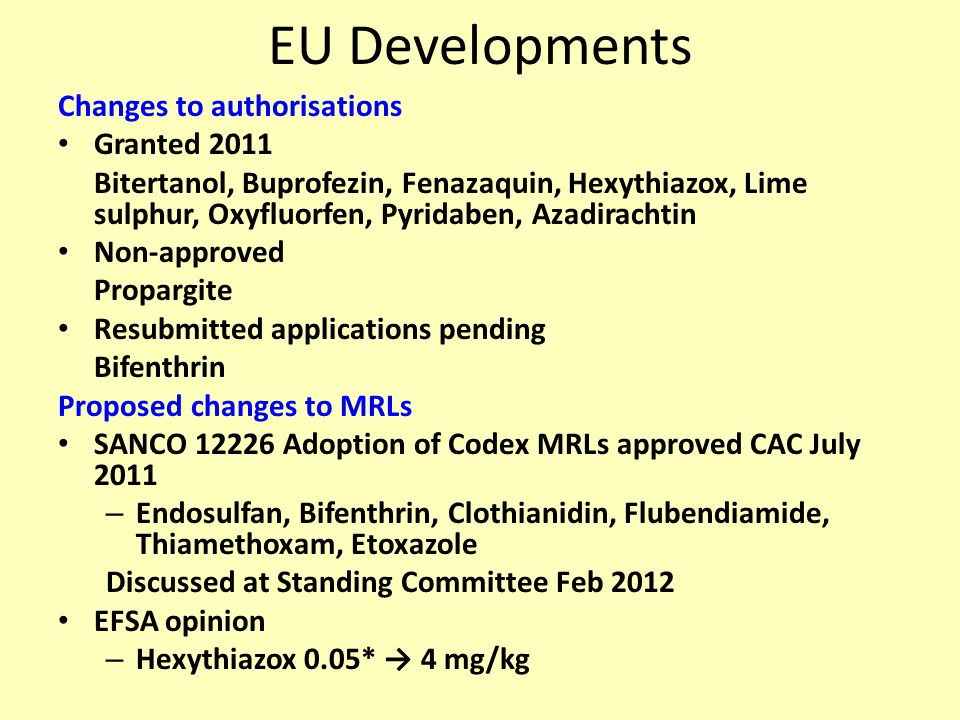 EU Developments Changes to authorisations Granted 2011 Bitertanol, Buprofezin, Fenazaquin, Hexythiazox, Lime sulphur, Oxyfluorfen, Pyridaben, Azadirachtin Non-approved Propargite Resubmitted applications pending Bifenthrin Proposed changes to MRLs SANCO 12226 Adoption of Codex MRLs approved CAC July 2011 – Endosulfan, Bifenthrin, Clothianidin, Flubendiamide, Thiamethoxam, Etoxazole Discussed at Standing Committee Feb 2012 EFSA opinion – Hexythiazox 0.05* → 4 mg/kg