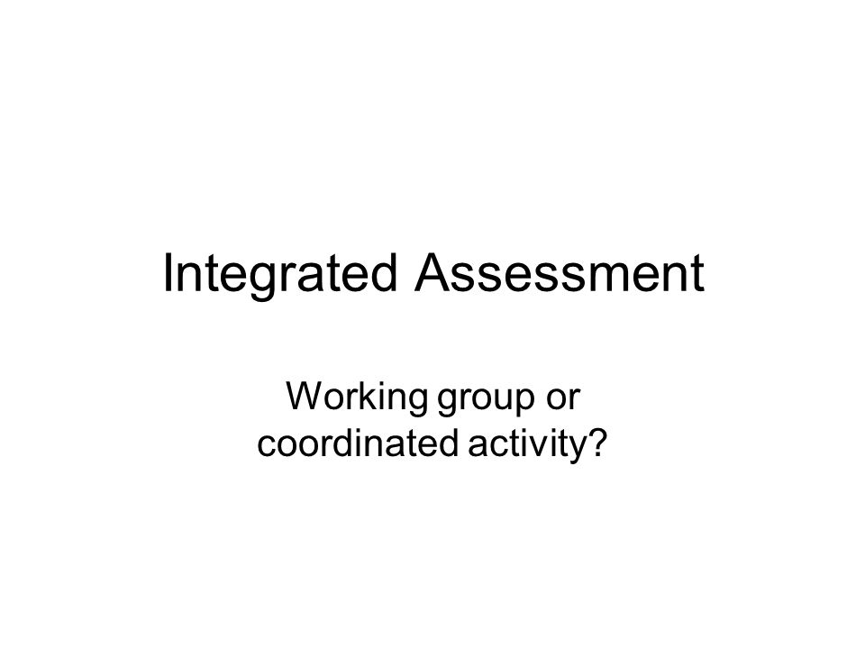 Integrated Assessment Working group or coordinated activity