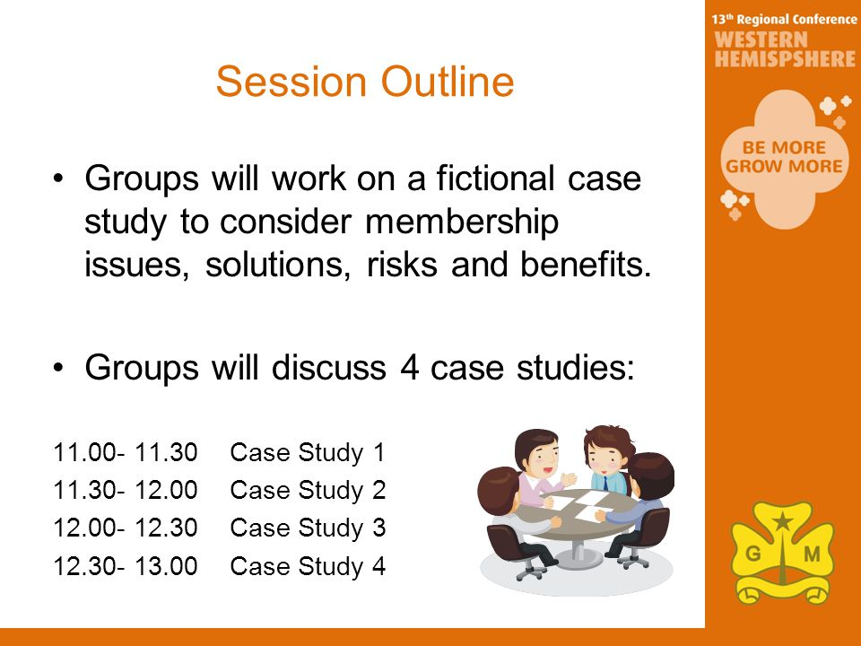 Session Outline Groups will work on a fictional case study to consider membership issues, solutions, risks and benefits.