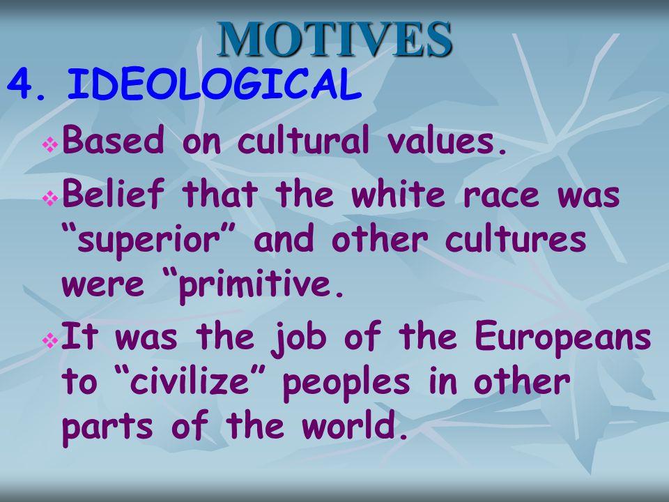 MOTIVES 4. IDEOLOGICAL   Based on cultural values.