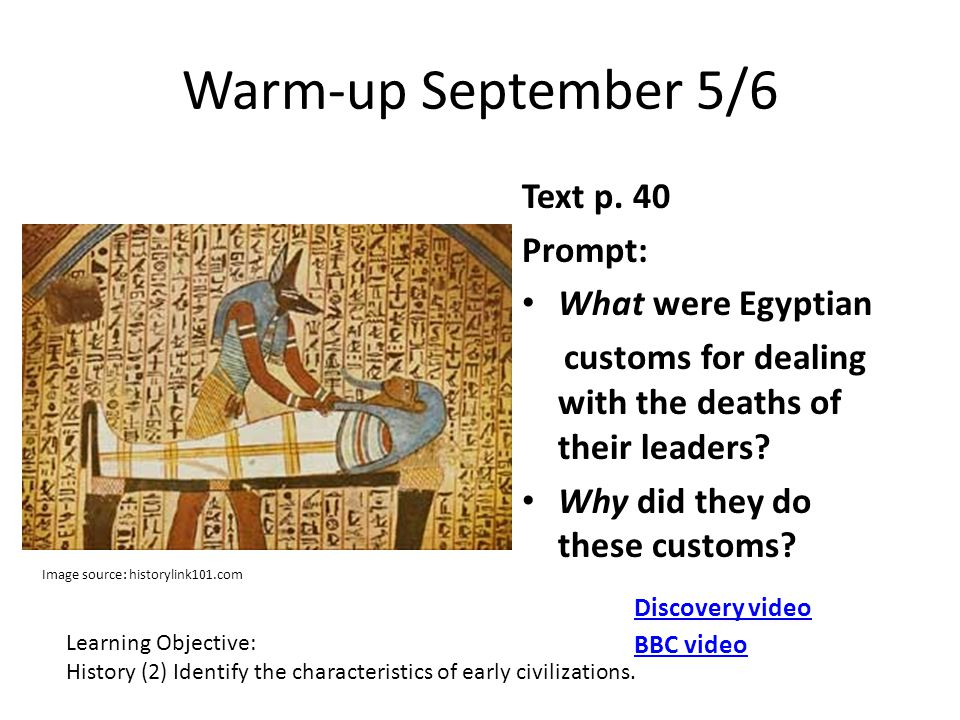 Warm-up September 5/6 Text p. 40 Prompt: What were Egyptian customs for dealing with the deaths of their leaders? Why did they do these customs? Learn