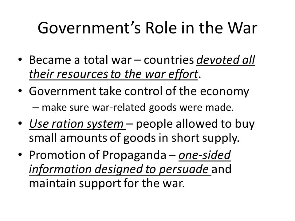 Role of Women Replaced men in factories, offices, and shops.