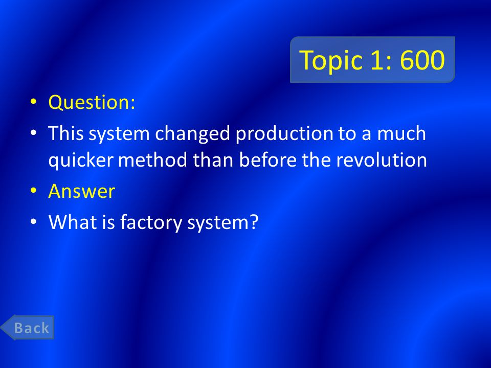 Topic 1: 800 Question: A ready supply of wealth and the colonial land sparked the Ind.