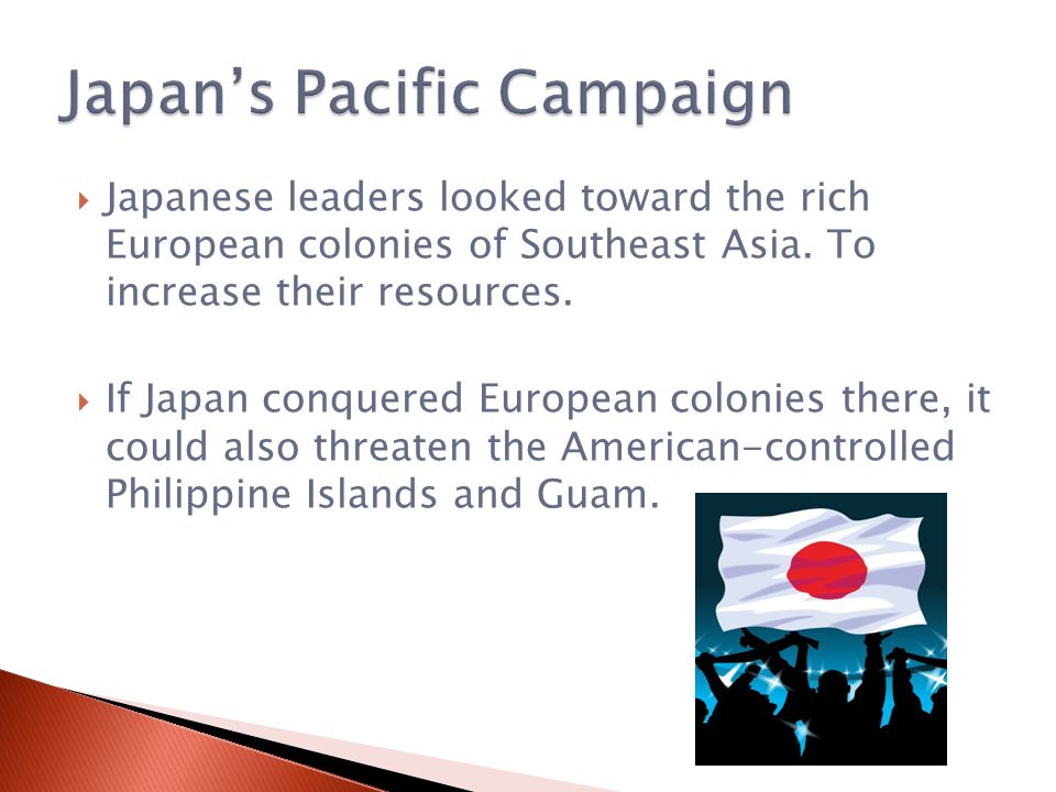  Japanese leaders looked toward the rich European colonies of Southeast Asia.