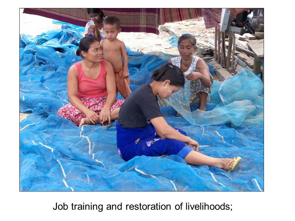 Job training and restoration of livelihoods;