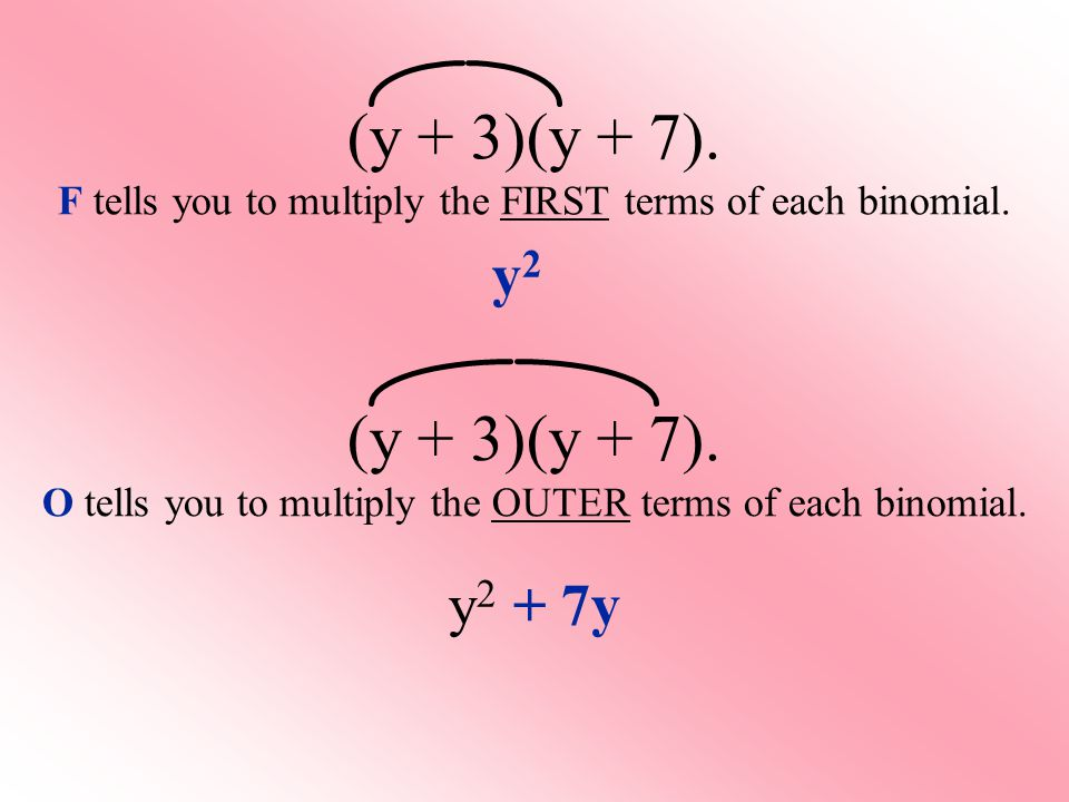 (y + 3)(y + 7). F tells you to multiply the FIRST terms of each binomial. y2y2 (y + 3)(y + 7). O tells you to multiply the OUTER terms of each binomia