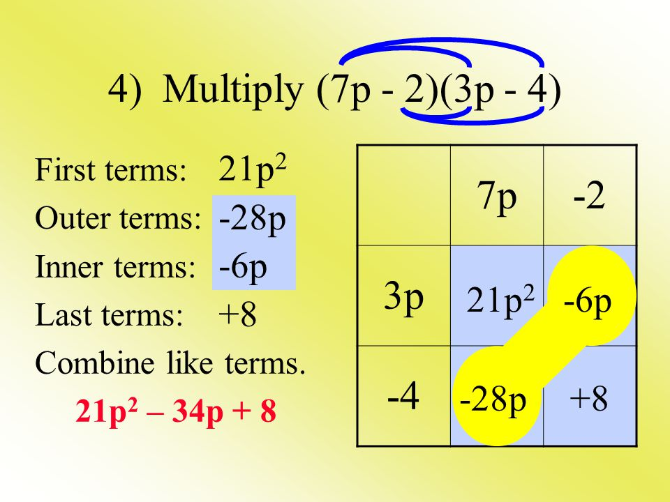 4) Multiply (7p - 2)(3p - 4) First terms: Outer terms: Inner terms: Last terms: Combine like terms. 21p 2 – 34p + 8 7p-2 3p -4 21p 2 -28p -6p +8 21p 2