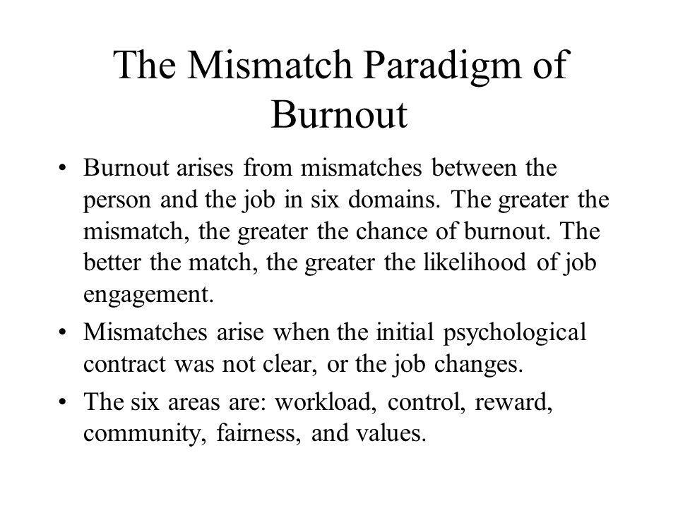 The Mismatch Paradigm of Burnout Burnout arises from mismatches between the person and the job in six domains. The greater the mismatch, the greater t