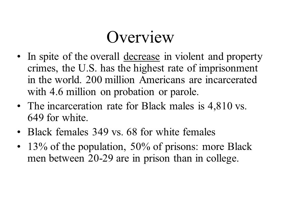 Overview In spite of the overall decrease in violent and property crimes, the U.S. has the highest rate of imprisonment in the world. 200 million Amer