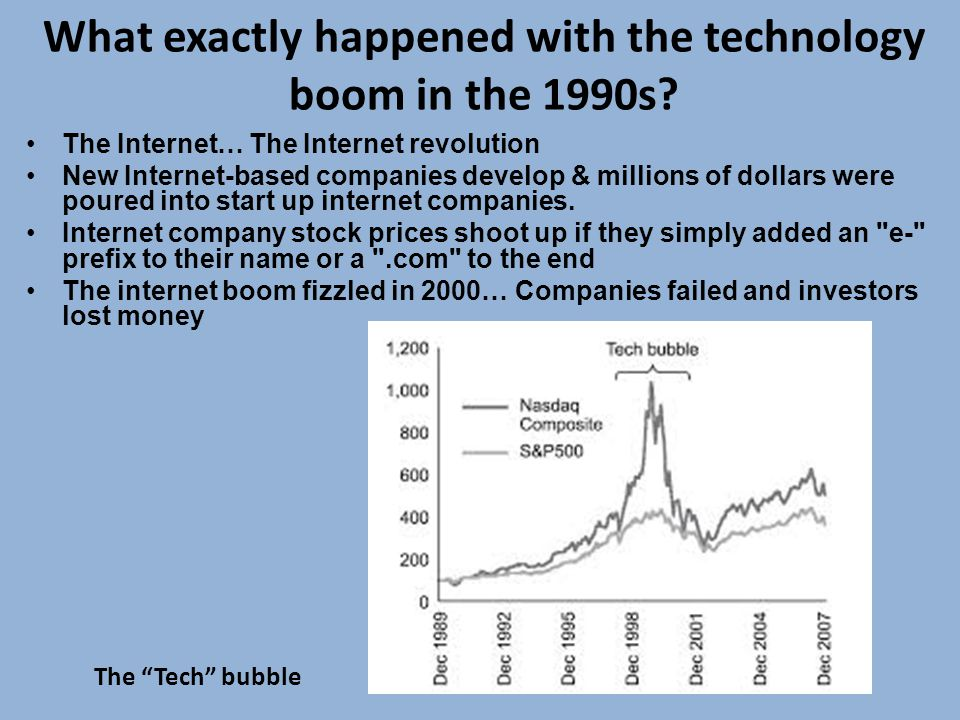 What exactly happened with the technology boom in the 1990s.