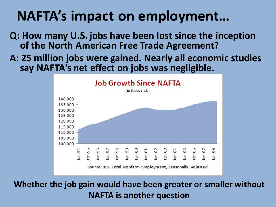 NAFTA's impact on employment… Q: How many U.S. jobs have been lost since the inception of the North American Free Trade Agreement? A: 25 million jobs