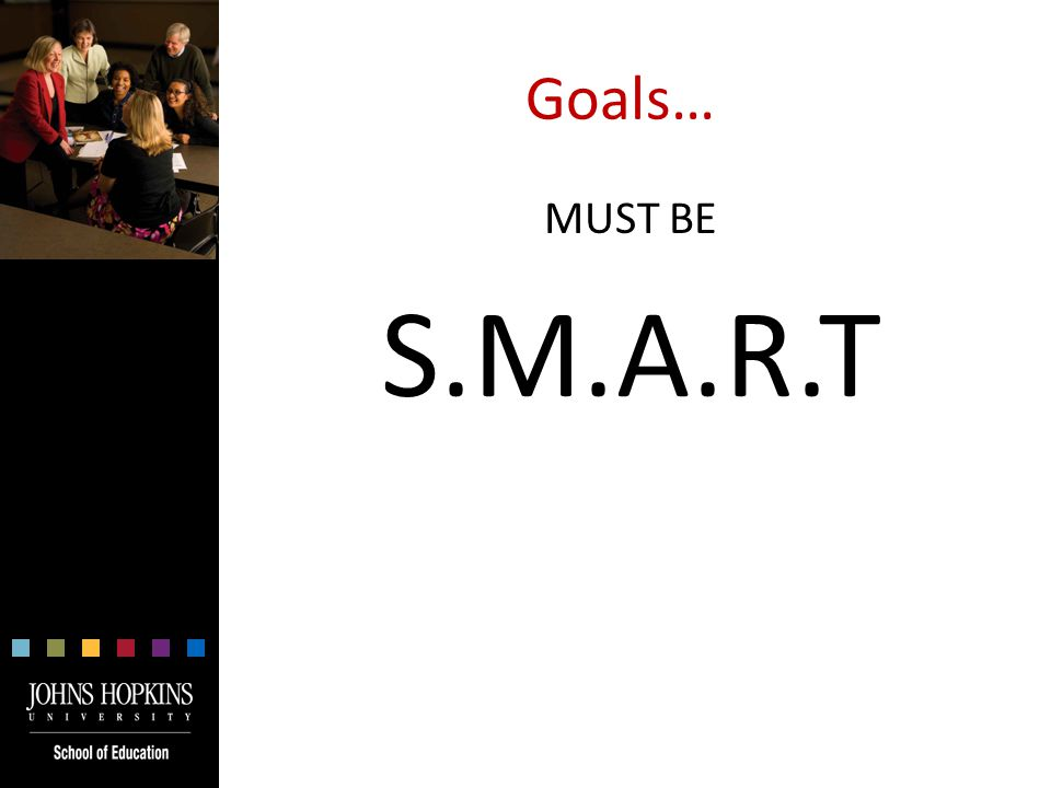 Goals… MUST BE S.M.A.R.T