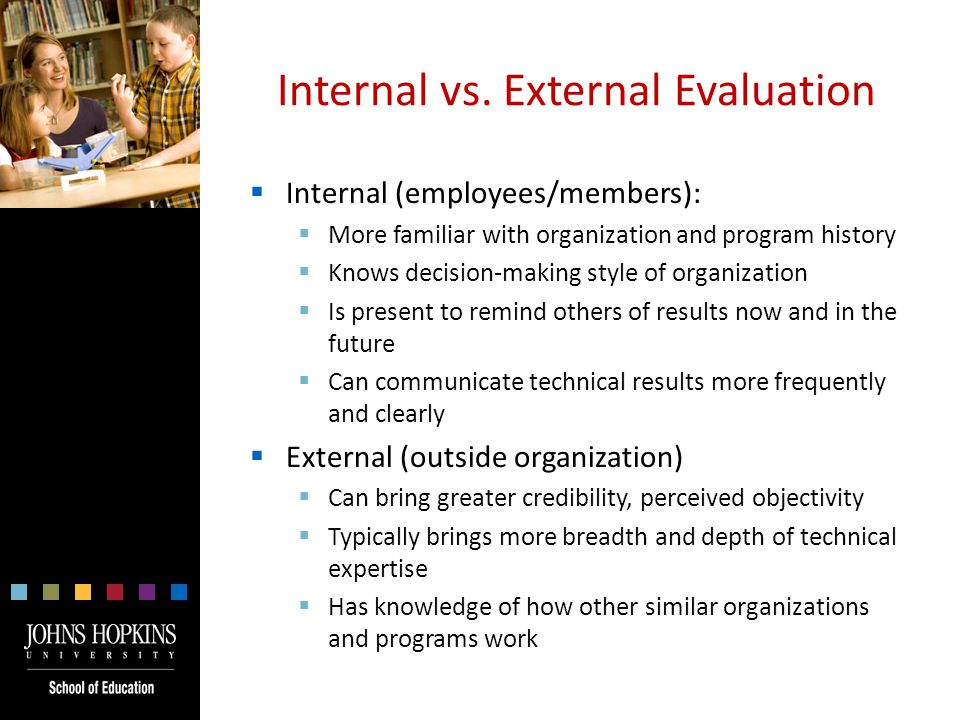 Discussion  Describe a situation in which an internal evaluator would be more appropriate than an external evaluator.