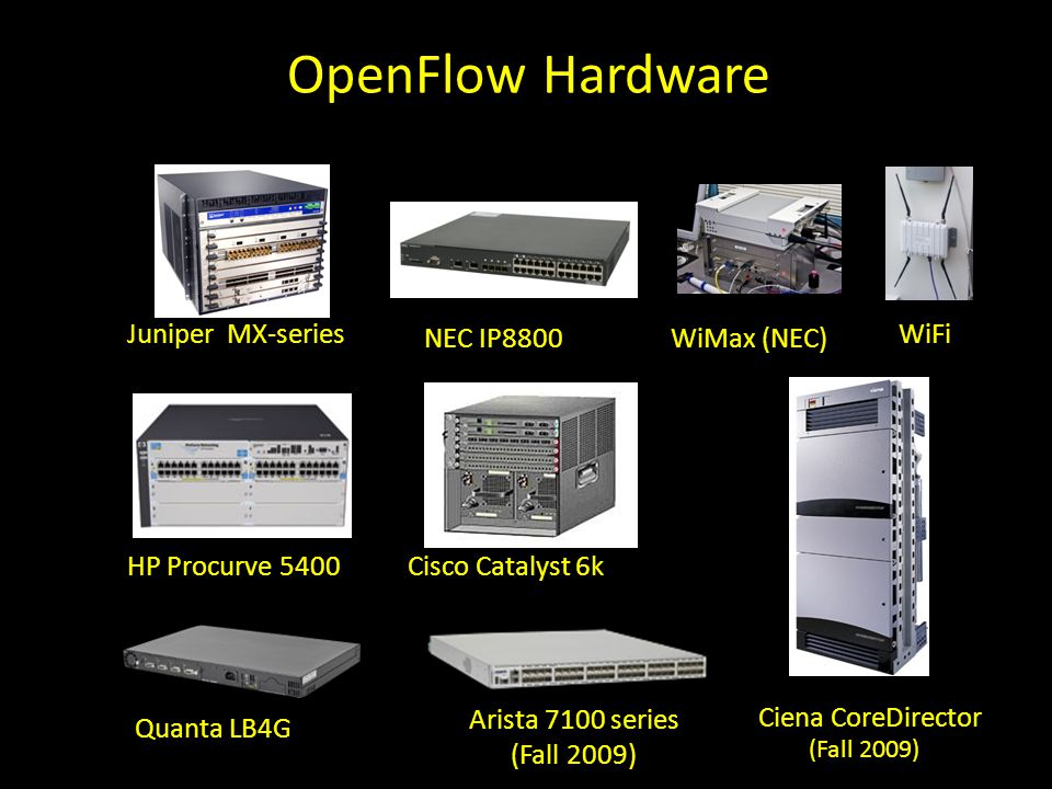 OpenFlow Hardware Cisco Catalyst 6k NEC IP8800 HP Procurve 5400 Juniper MX-series WiMax (NEC) WiFi Quanta LB4G Ciena CoreDirector Arista 7100 series (