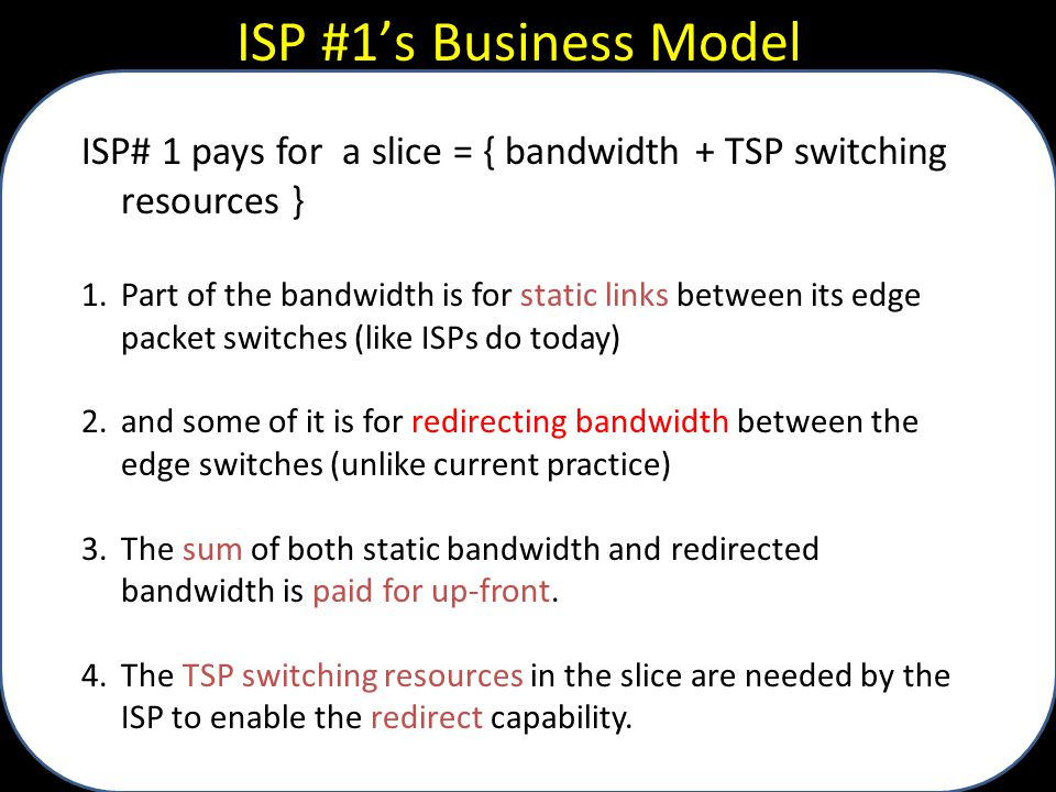 ISP #1's Business Model ISP# 1 pays for a slice = { bandwidth + TSP switching resources } 1.Part of the bandwidth is for static links between its edge