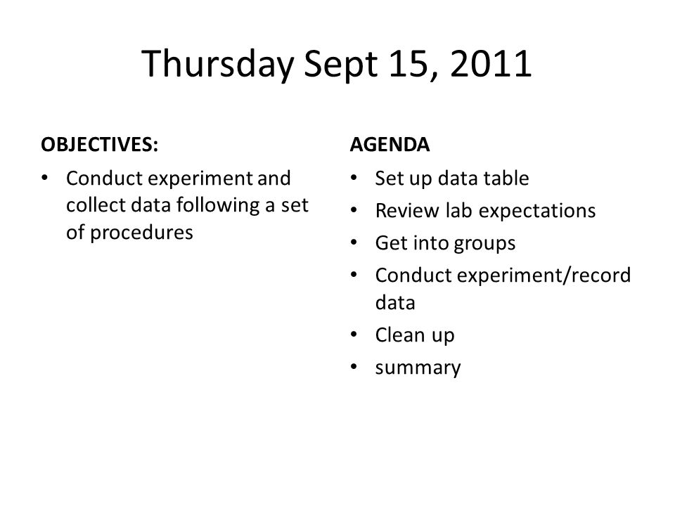 Thursday Sept 15, 2011 OBJECTIVES: Conduct experiment and collect data following a set of procedures AGENDA Set up data table Review lab expectations