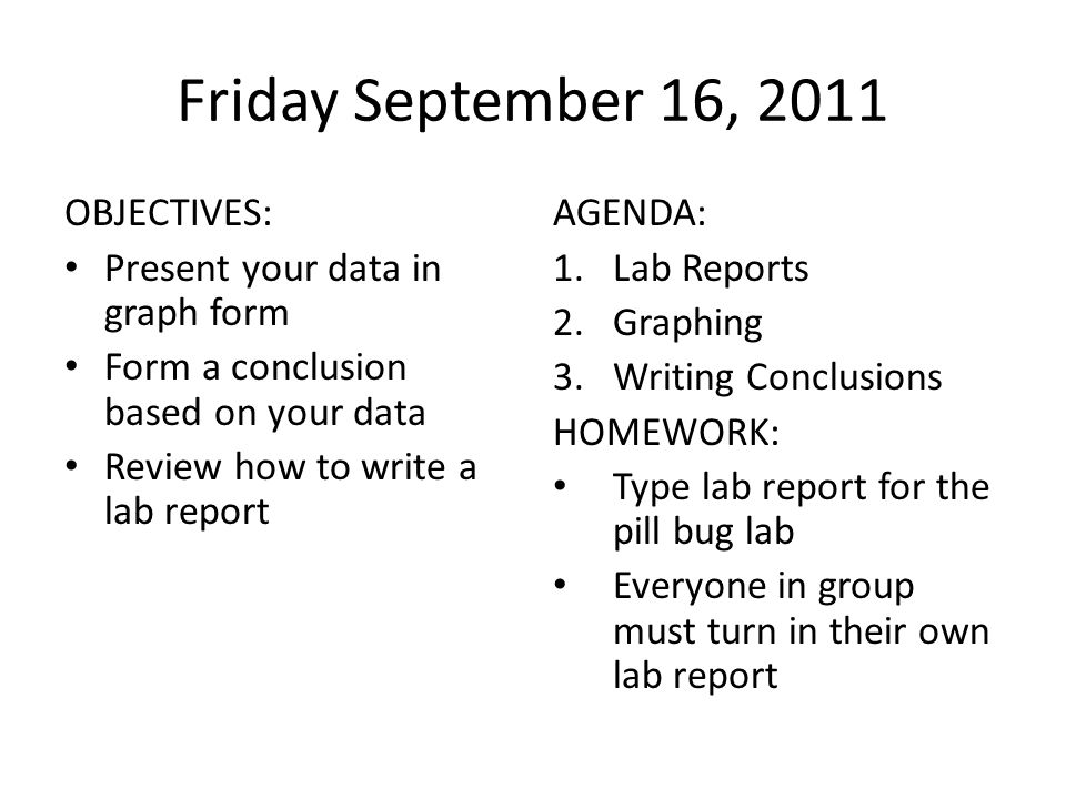 how do you write a lab report in third person This information is given in the order that you might actually write your report rather than the order in which the parts are presented in the final report if you want more information, you can find parts of this text in an on-line collection of instructional materials used in the purdue university writing lab.
