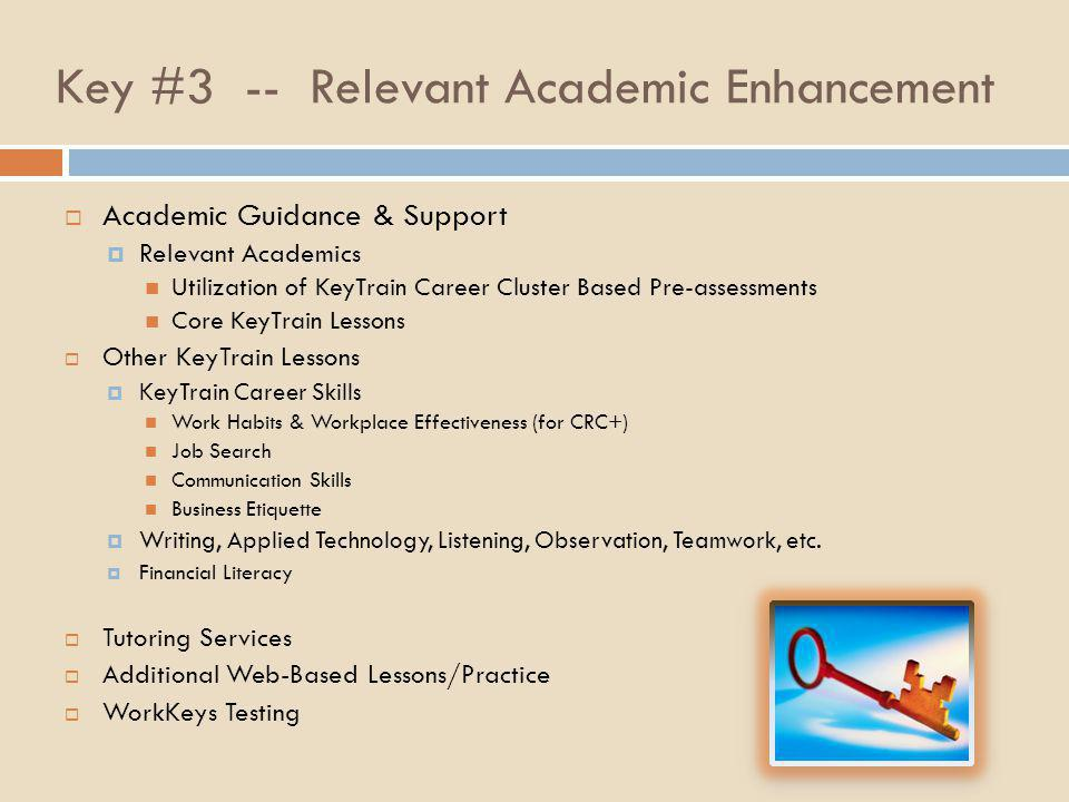 Key #3 -- Relevant Academic Enhancement  Academic Guidance & Support  Relevant Academics Utilization of KeyTrain Career Cluster Based Pre-assessment