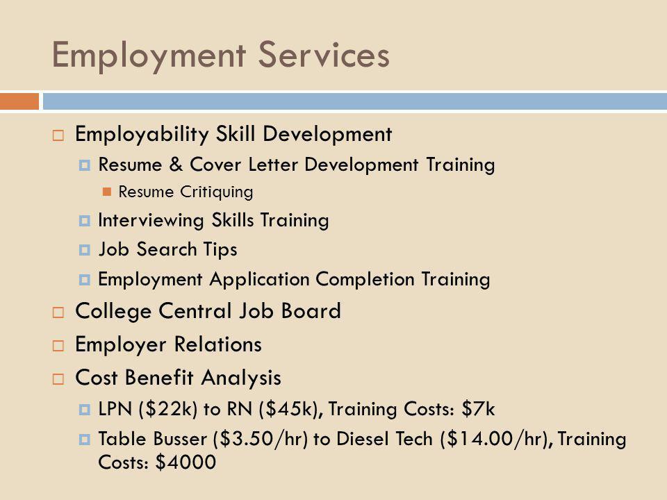 Employment Services  Employability Skill Development  Resume & Cover Letter Development Training Resume Critiquing  Interviewing Skills Training 
