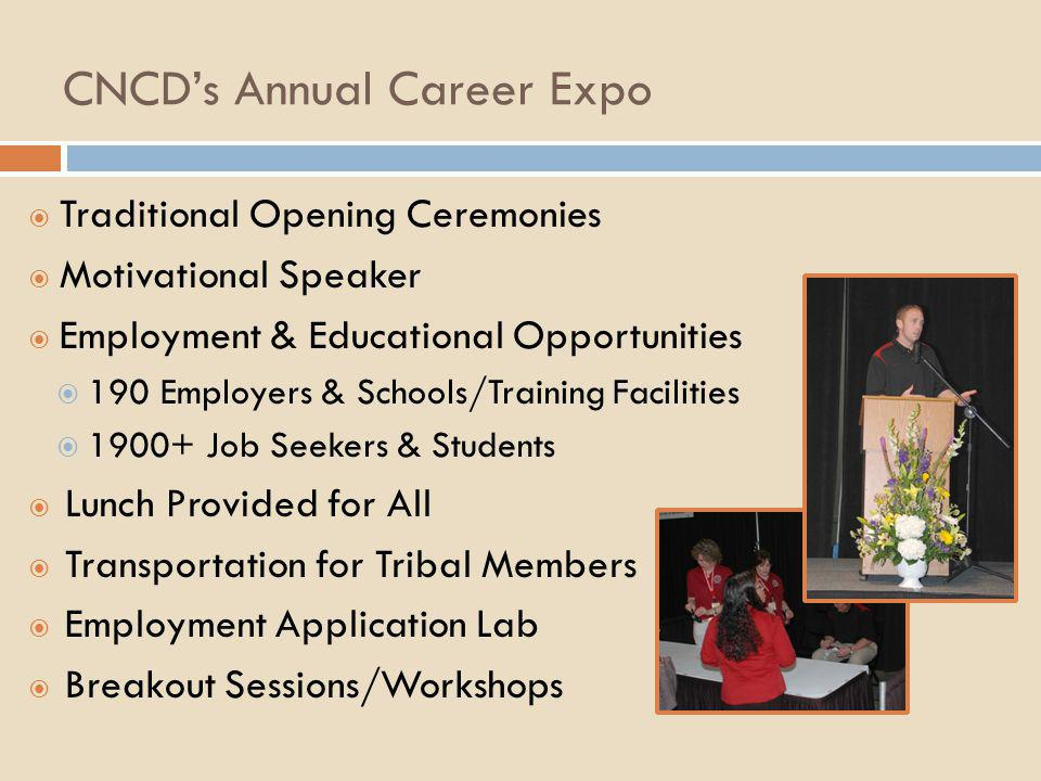 CNCD's Annual Career Expo  Traditional Opening Ceremonies  Motivational Speaker  Employment & Educational Opportunities  190 Employers & Schools/T