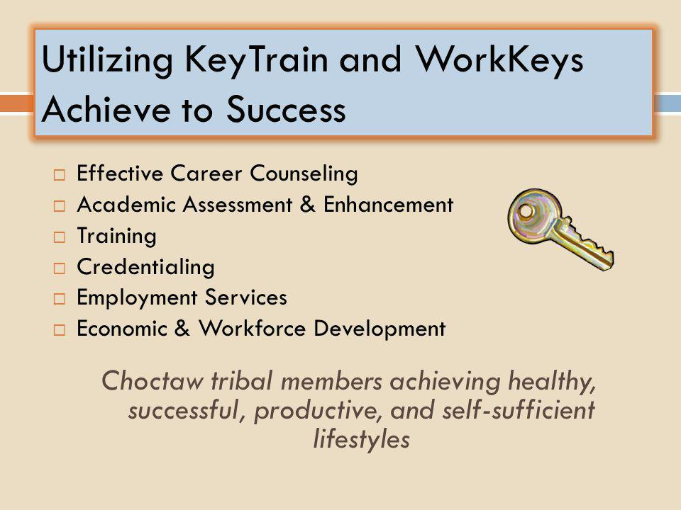 Utilizing KeyTrain and WorkKeys Achieve to Success  Effective Career Counseling  Academic Assessment & Enhancement  Training  Credentialing  Empl