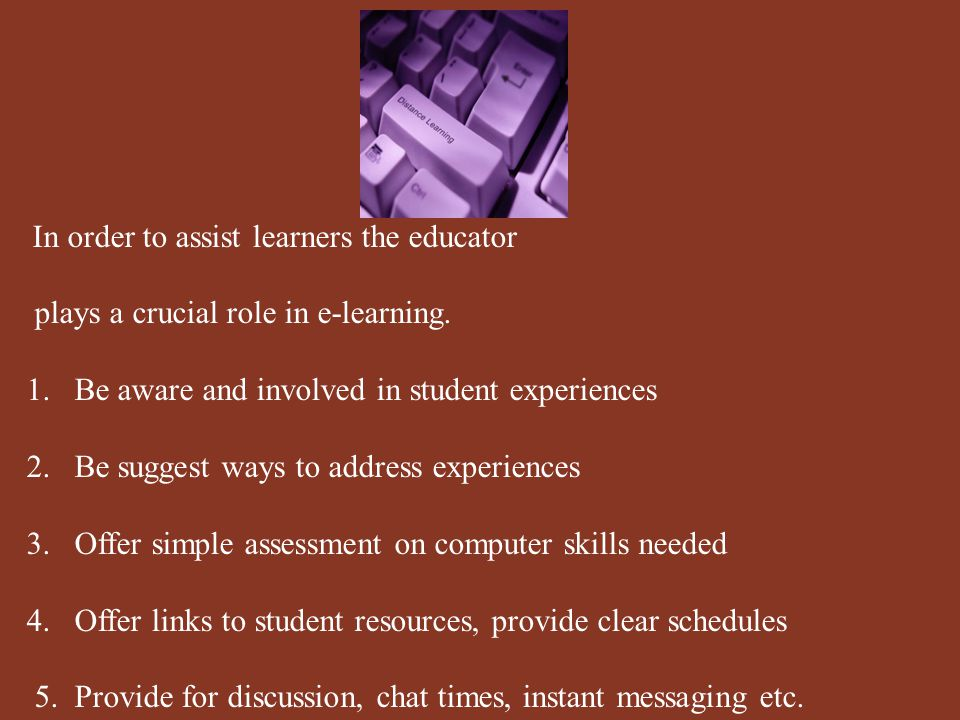 Some of the other roles that an instructor needs to carry out are: 1.Establish rapport with students 2.Make them feel comfortable with the online experience 3.Encourage them to participate