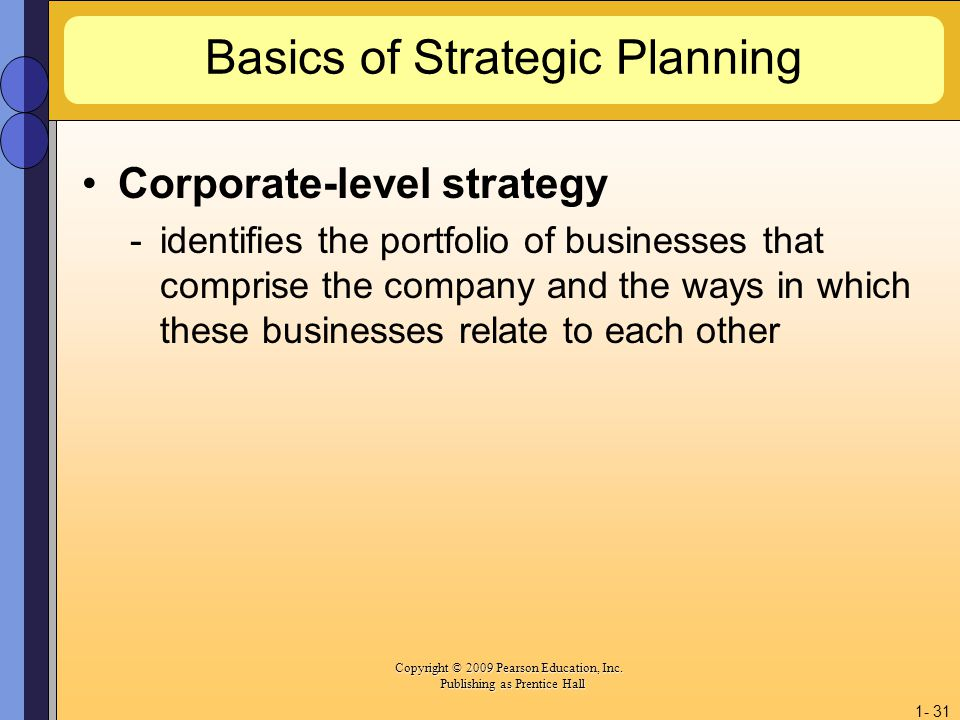 Copyright © 2009 Pearson Education, Inc. Copyright © 2009 Pearson Education, Inc. Publishing as Prentice Hall 1- 31 Basics of Strategic Planning Corpo