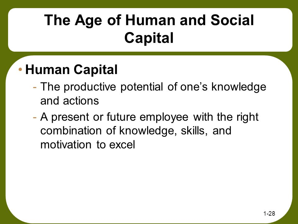 The Age of Human and Social Capital Human Capital -The productive potential of one's knowledge and actions -A present or future employee with the righ