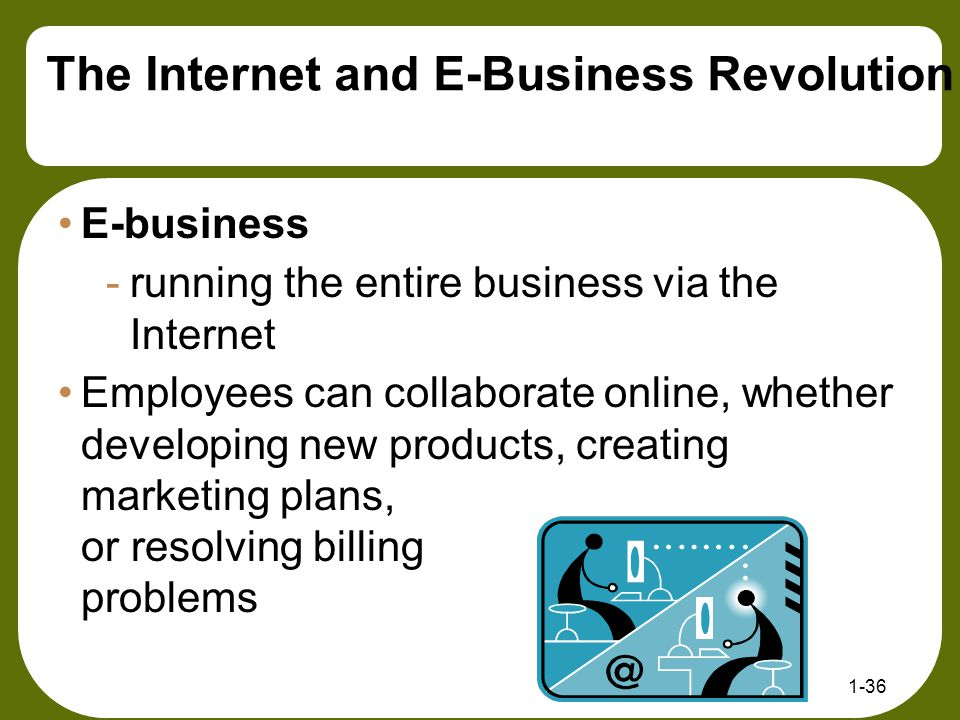 E-business -running the entire business via the Internet Employees can collaborate online, whether developing new products, creating marketing plans,
