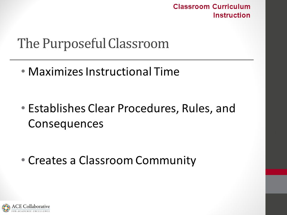 Fostering A Purposeful Classroom In groups discuss how you or the school can: – Maximize instructional time within their classrooms – Protect instructional time school-wide – Develop effective procedures, rules, and consequences ACE Collaborative 2012