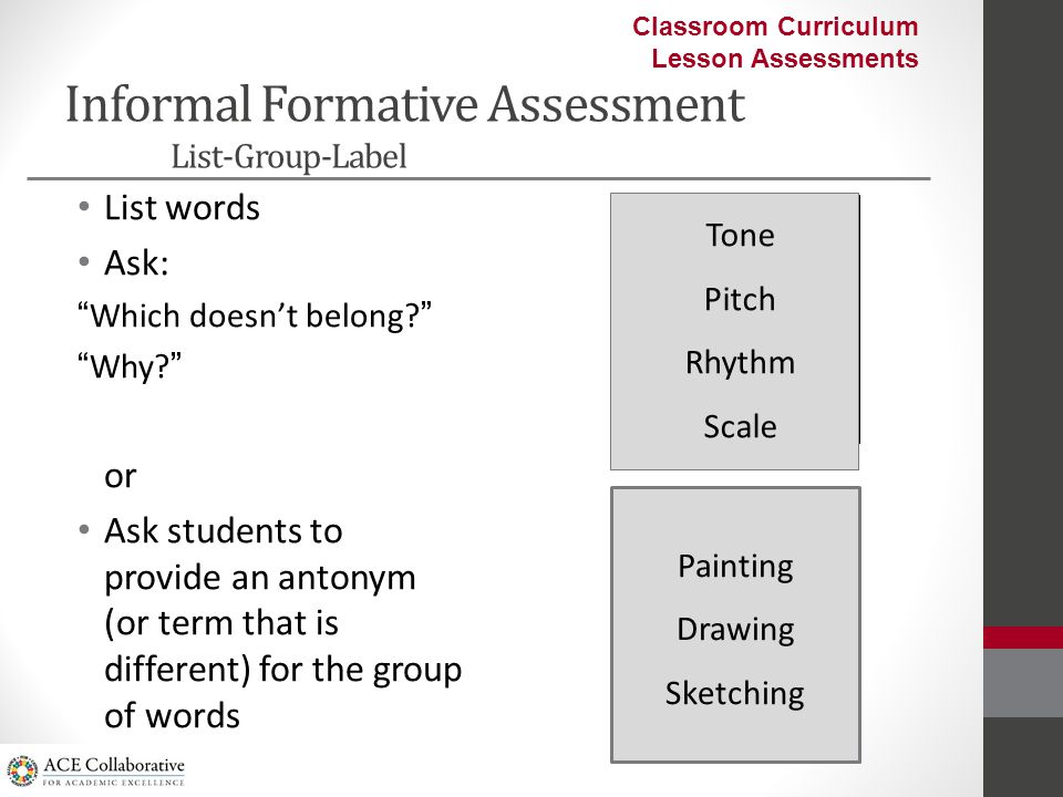 Informal Formative Assessment Boo's Character Description in the play Monsters Inc LP1 Day 1 IA occurs 3 times in the form of Random Questioning during Pair work and for Closure LP3 Day 1 IA occurs 2 times in the form of Random Questioning during Pair work and whole class discussion and as an Exit card at the end.