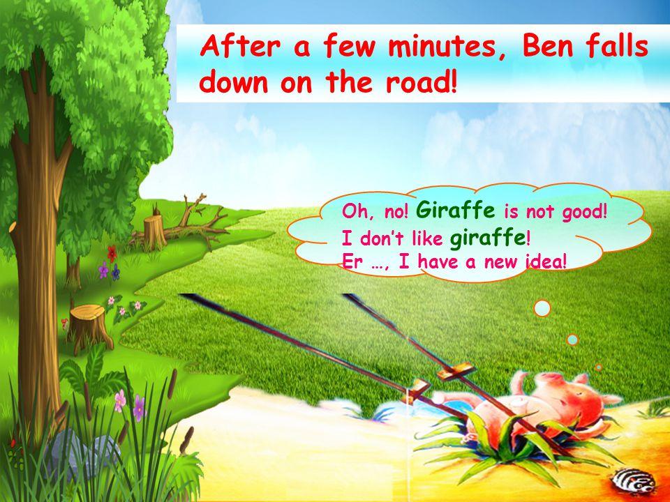 He meets a zebra on his way. Hi, zebra . Look at me, I'm a super giraffe.